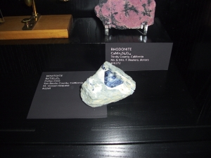 Benitoite in the California Academy of Sciences, April, 2010